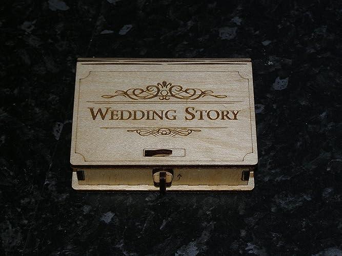 Historia de la boda y memorias USB stick box para fotógrafos.