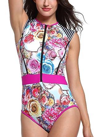 Amazon.com: faspha traje de baño de una pieza Verano Vintage ...