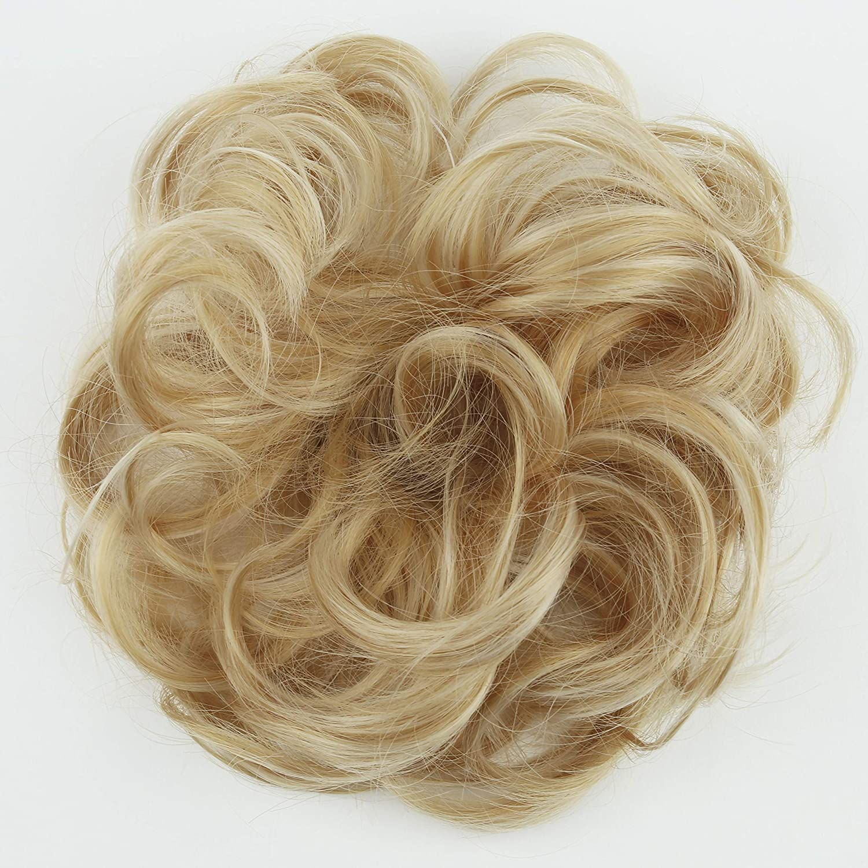 PRETTYSHOP Scrunchie Scrunchy Bun Up Do Hair piece Hair Ribbon Ponytail Extensions Wavy Curly or Messy bleach blonde mix 86AH613