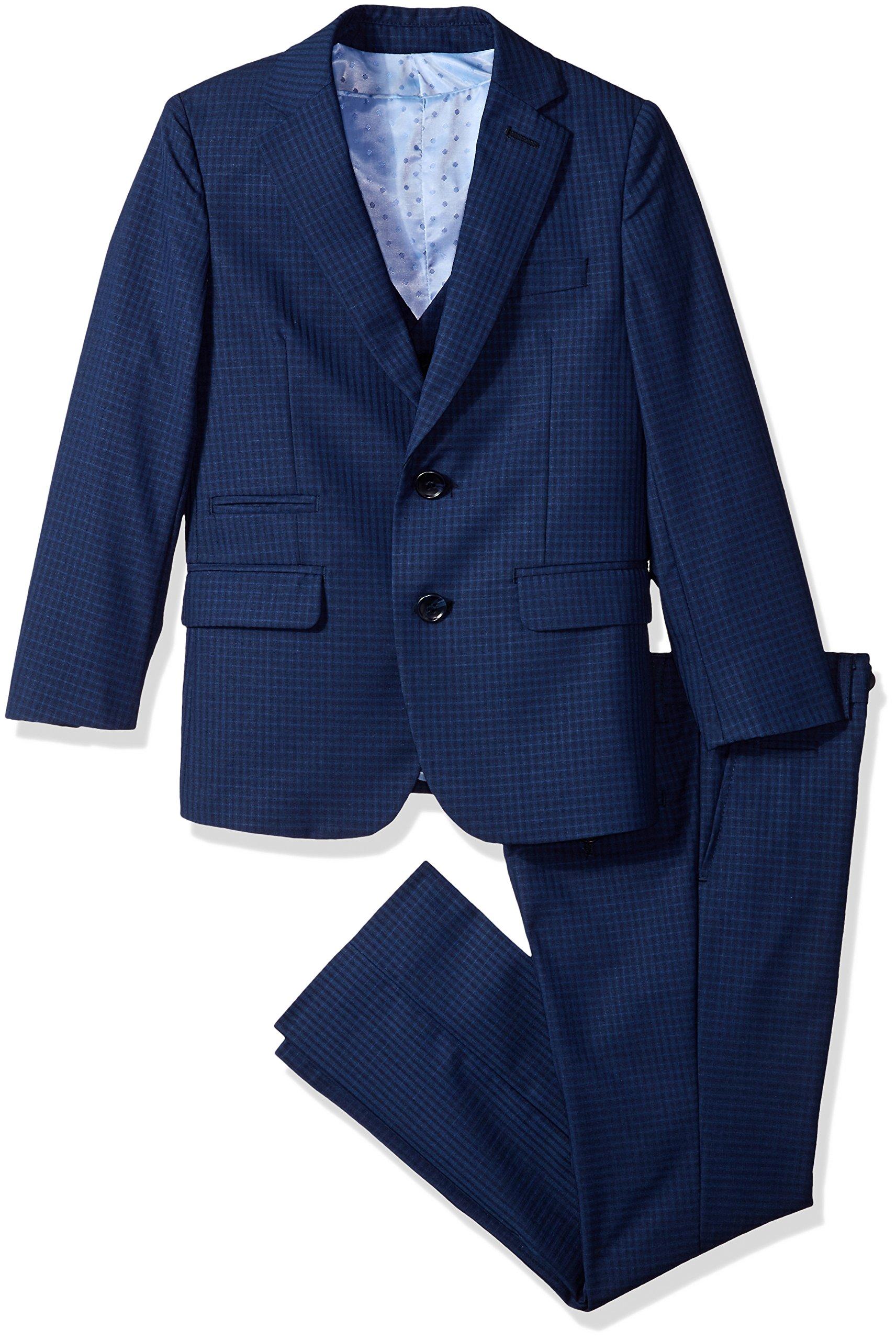 Isaac Mizrahi Big Boys' Slim Gingham Check 3pc Suit, Navy, 10 by Isaac Mizrahi