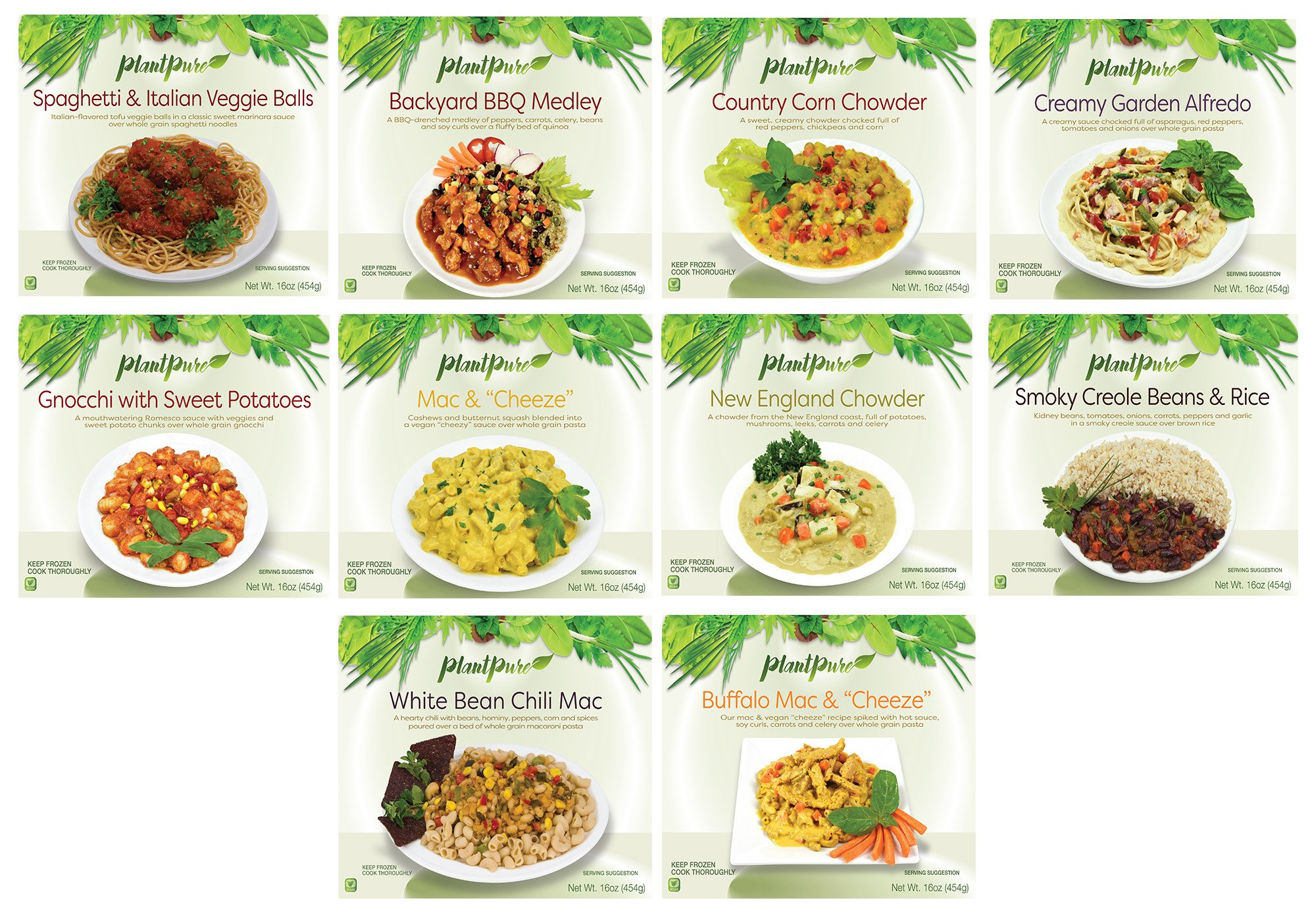 PlantPure Mild/Comfort Collection Pack of 20 Vegan Plant Based Frozen Entrees (Two of each entree) by PlantPure