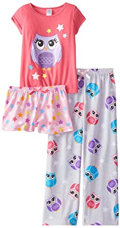 8de1c7a08b71 Amazon.com  Sleep   Co Little Girls  Owl 3 Piece Pajama Set