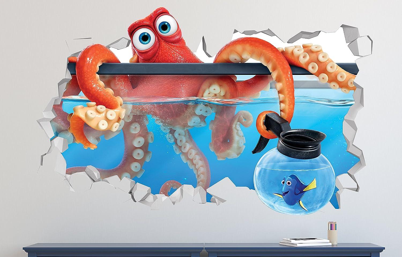 "Finding Nemo Dory Hank Wall Decal Smashed 3D Sticker Vinyl Decor Mural Movie Kids - Broken Wall - 3D Designs - LS283 (Small (Wide 22"" x 12"" Height))"