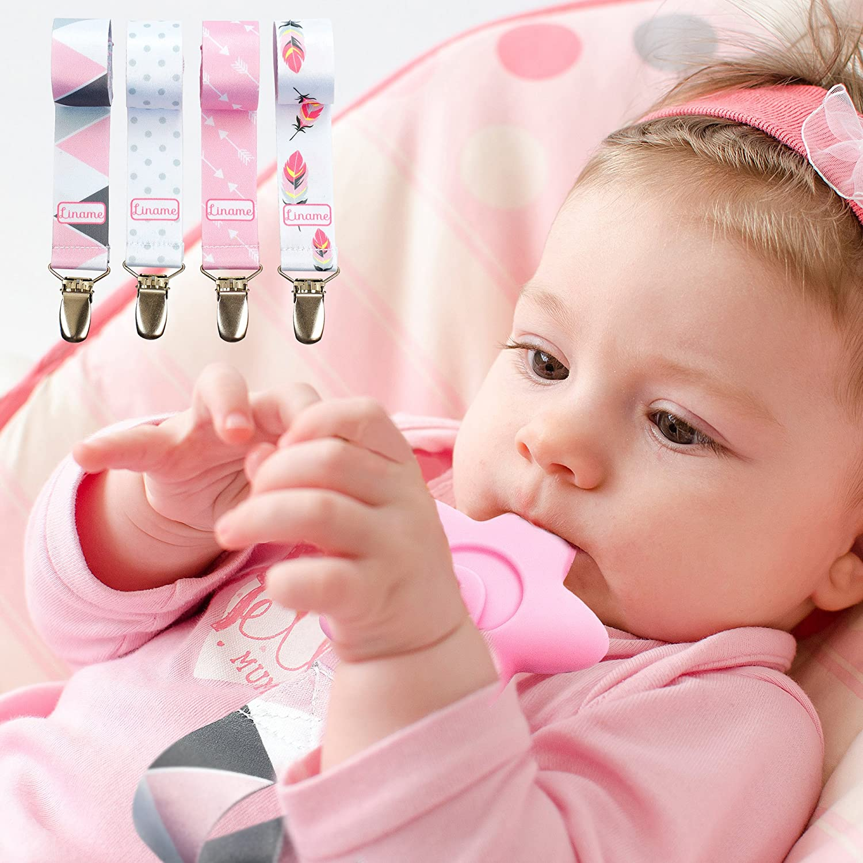 Pinza Para Chupete Para Niñas - Paquete De 4 & BONUS Juguete De Dentición – Cadena Chupete Universal De Alta Calidad – Diseño Hermoso De Estilo ...