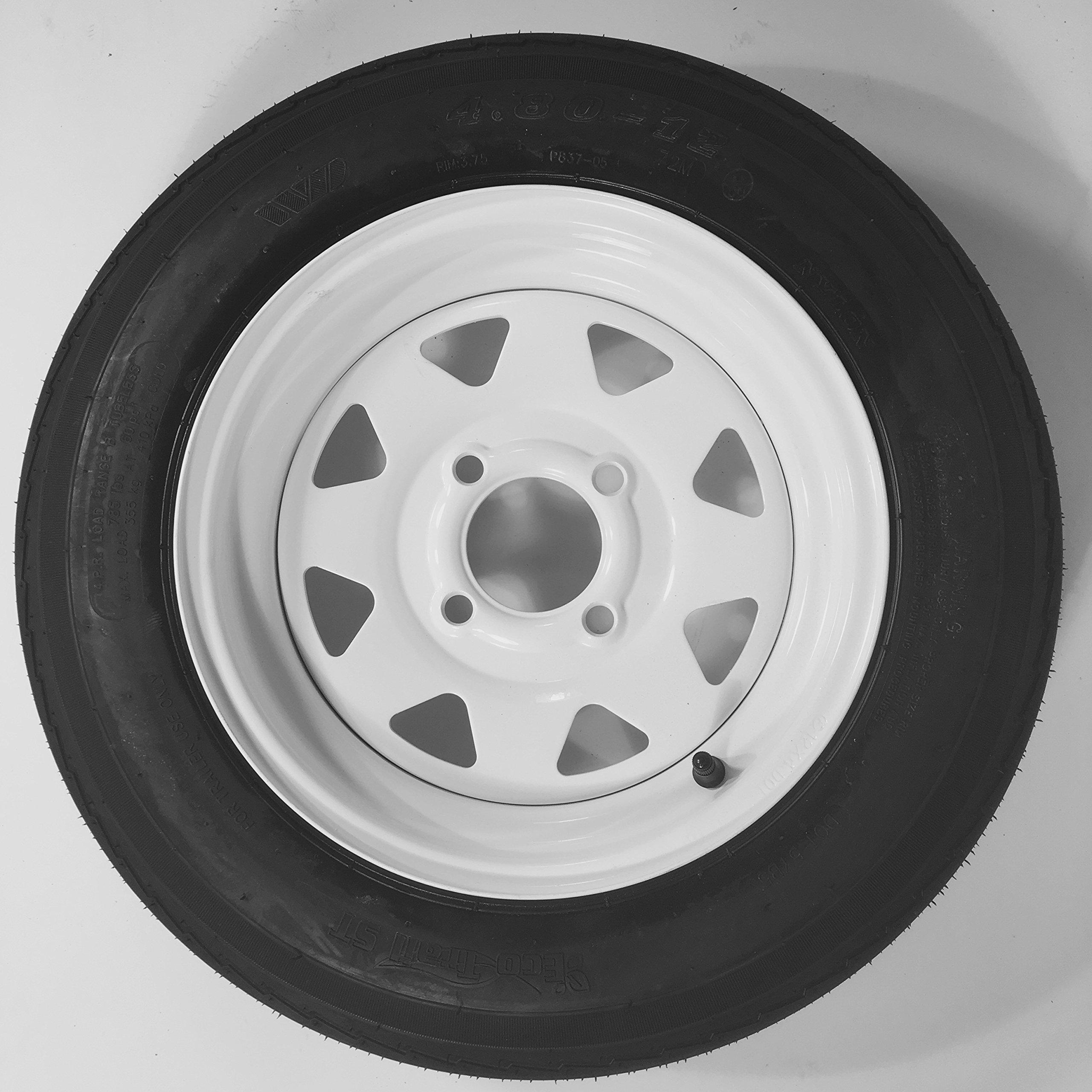 eCustomRim Trailer Tire + Rim 4.80-12 480-12 4.80 X 12 12'' LRB 4 Lug White Wheel Spoke