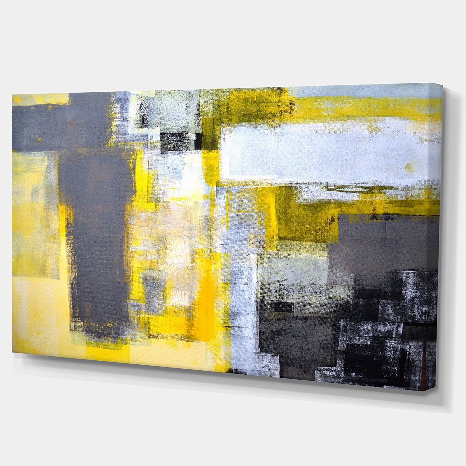 Amazon.com: Designart PT6269-32-16 - Grey and Yellow Blur Abstract ...
