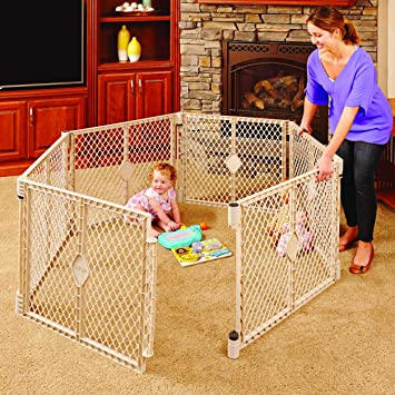 North States Superyard Indoor Outdoor 6 Panel Play Yard: Create A Large  Adjustable