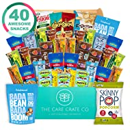 The Care Crate, 40 Piece Healthy Snacks Care Package - Assorted Variety Pack Bulk Food Box for Kids, Adults, College or Office