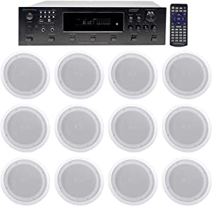 """Technical Pro 6000w (6) Zone Home Theater Bluetooth Receiver+(12) 8"""" Speakers"""