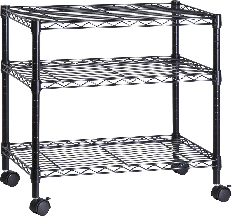 Honey-Can-Do 3-Shelf Portable Multimedia Cart, Black: Home & Kitchen