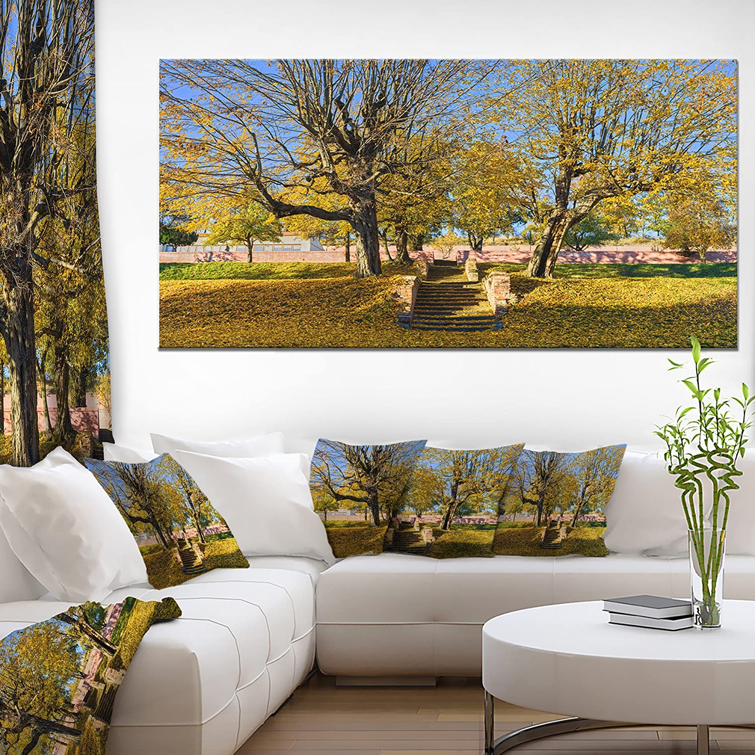 Design Art 1 Piece Stone Stairs In Park In Fall Landscape Wall Art Canvas Print 60x28 Amazon In Home Kitchen