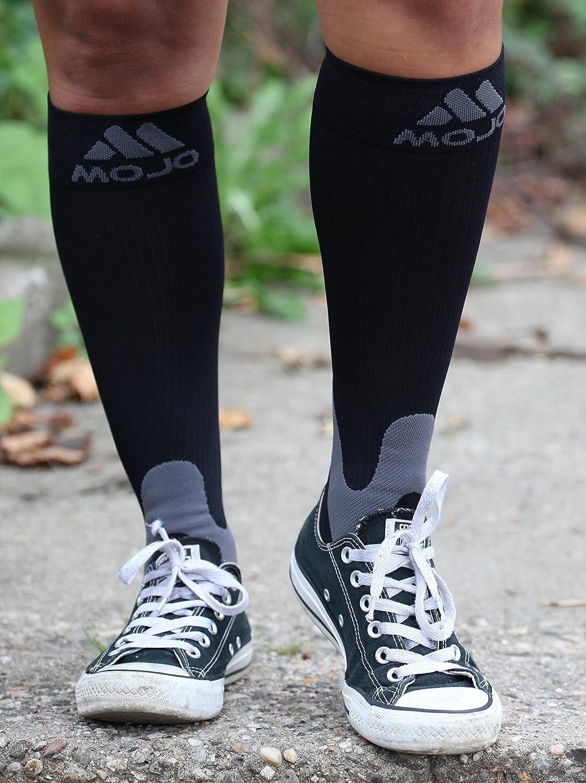 3XL Mojo Compression Socks 20-30mmHg Wide Full Calf Made in Taiwan Varicose Vein Edema Sports Compression Stockings Plus Size Black XXX-Large A601BL6
