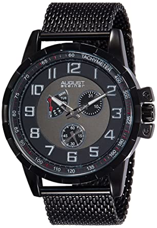4bcf3b1ae5157 August Steiner Men s AS8202BK Black Multifunction Quartz Watch with Black  and Gray Dial and Black Mesh