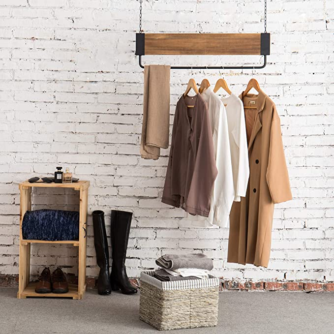 Amazon.com: MyGift - Barra de metal y madera con cadena para ...