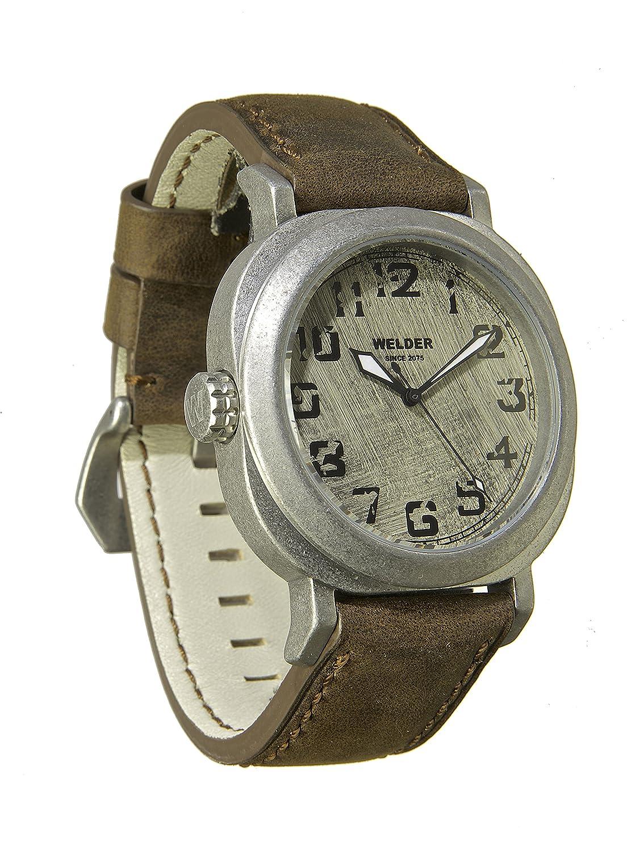 Welder Herren Armbanduhr mit weißem Zifferblatt Analog-Anzeige und braunem Lederband K19–500