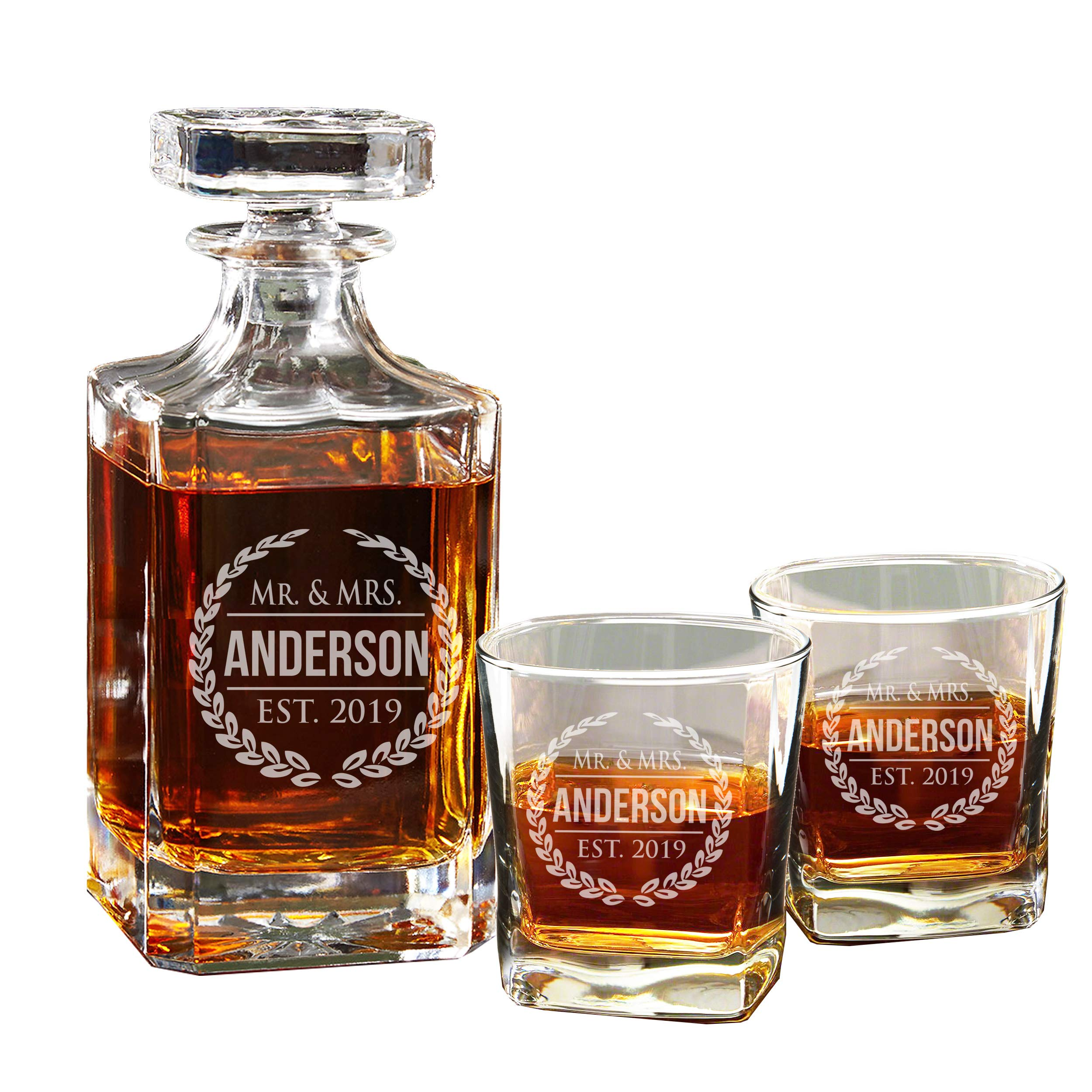 Custom Personalized Couples Whiskey Decanter Set - Monogrammed Gifts for Newlyweds, Anniversary, Wedding, or Engagement (Decanter and 2 Glasses)