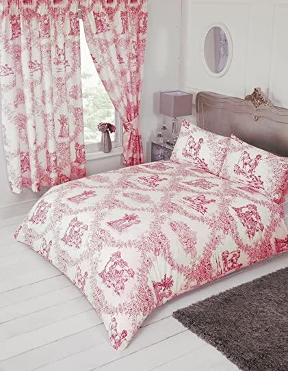 best lit double toile de jouy rouge housse de couette parure de lit par my with linge de lit. Black Bedroom Furniture Sets. Home Design Ideas