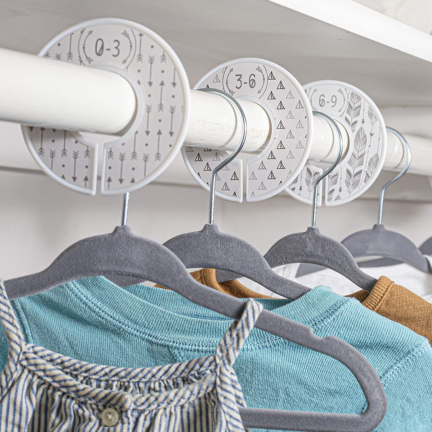 Boho pikkuboo Baby Hangers and Size Dividers