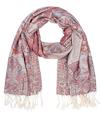 """b5af6df0f1a62d SIX """"Festival weicher Damen Pashmina Schal Halstuch Paisley-Design  Ornamente Blumen Rot Rosa"""