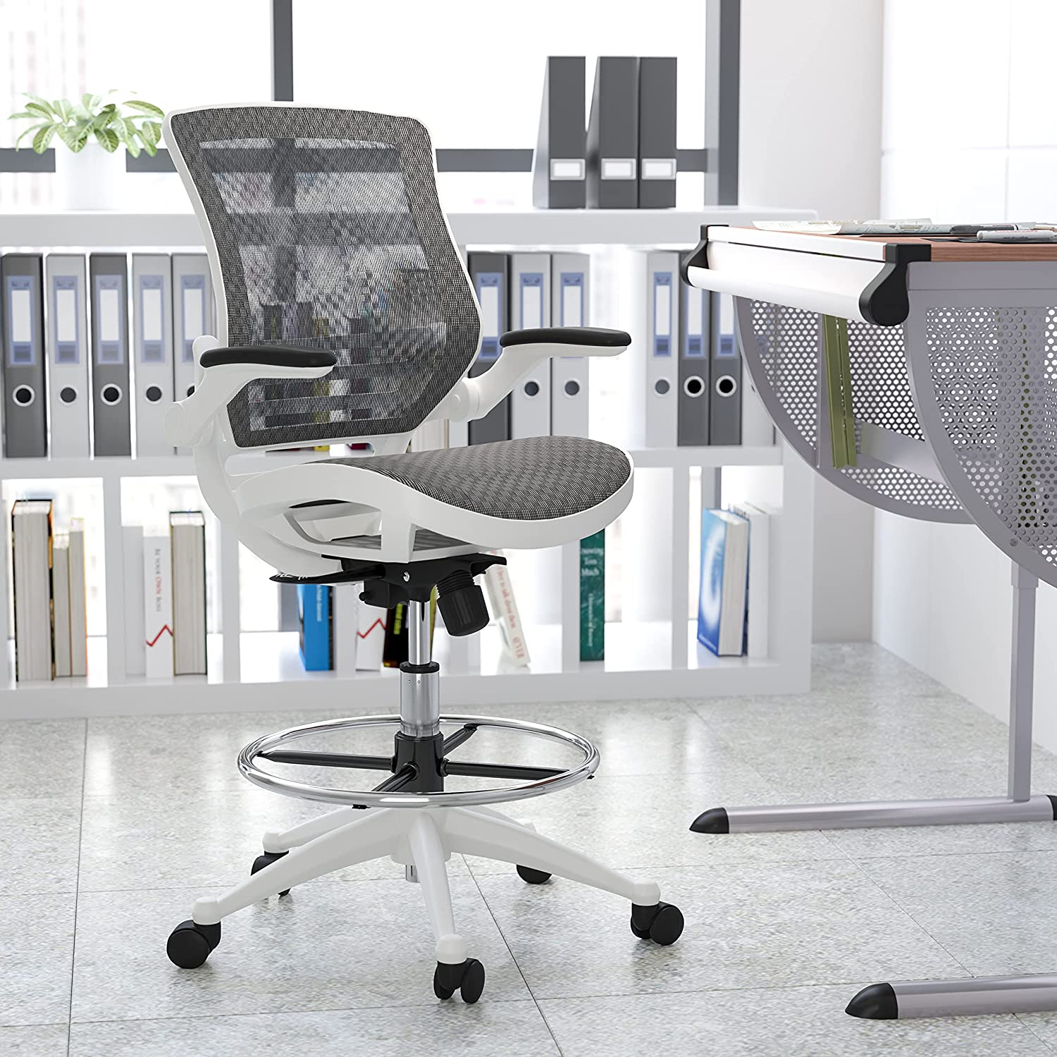 Flash Furniture Mid-Back Transparent Gray Mesh Drafting Chair with White Frame and Flip-Up Arms