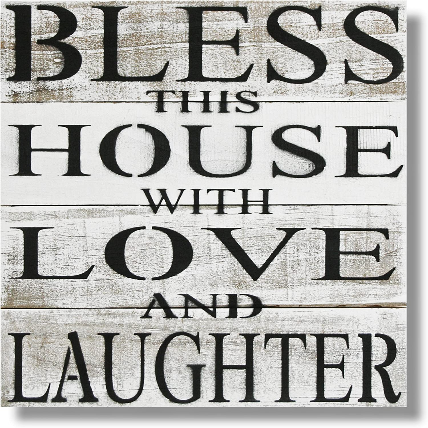 "Beach Frames White Extra Farmhouse Home Decor Bless This House with Love and Laughter Rustic Reclaimed Wood Wall Art Sign, X-Large, Washed 20.5"" x 20.25"""