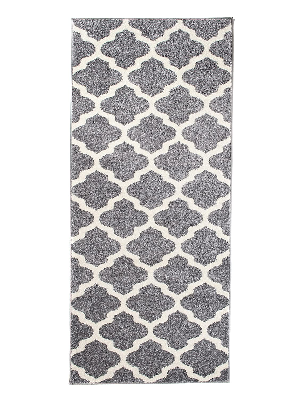 Carpeto Läufer Teppich Modern Grau 80 x 500 cm Marokkanisches Muster Kurzflor Furuvik Kollektion