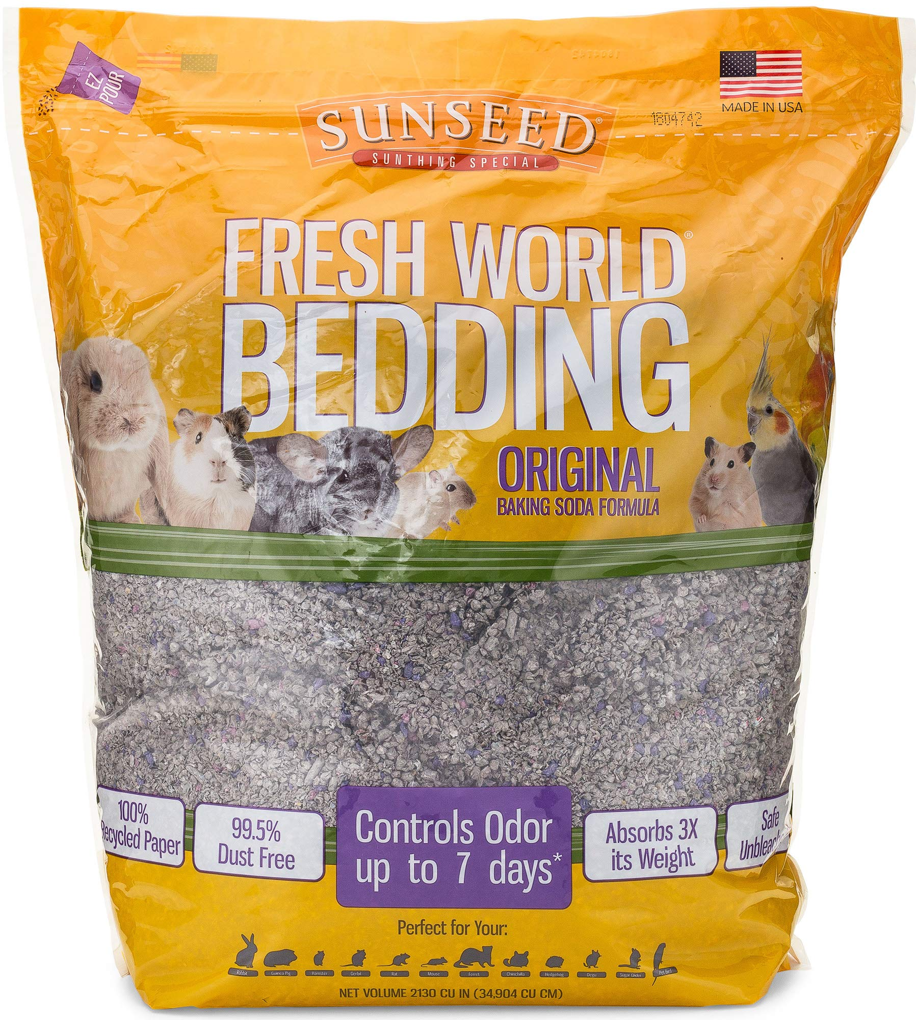 Sunseed 18222 Fresh World Bedding for Small Animals, Original Gray - 2130 Cubic Inch by Sunseed