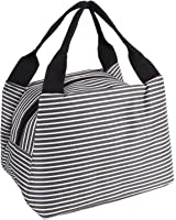 Striped Lunch Bag,Goodidus Oxford Cloth Lovely Lunch Bag Bento Lunch Box Package (Black)