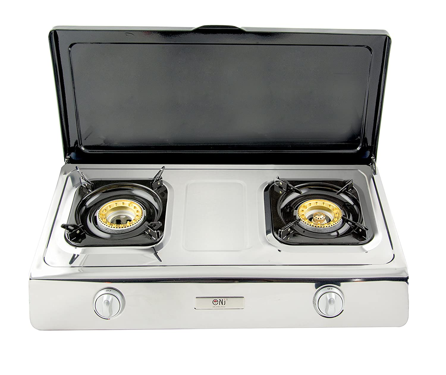 NJ NGB-200C Gas Stove 2 Burners 70cm Stainless Steel WOK Cover Outdoor FONTRON LTD