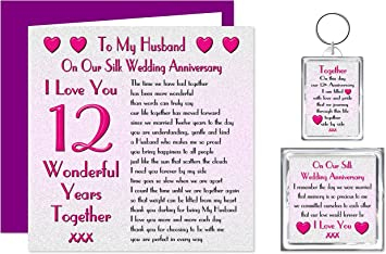My Husband 12th Wedding Anniversary Gift Set Card Keyring Fridge Magnet Present On Our Silk Anniversary 12 Years Sentimental Verse I Love You Amazon Co Uk Office Products