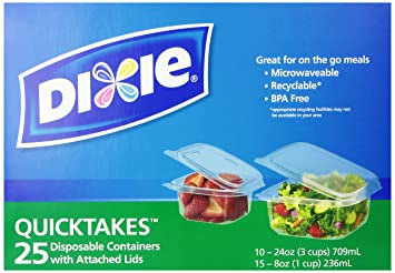 Charming Dixie Quicktakes Disposable Food Storage Containers With Attached Lids, 25  Count