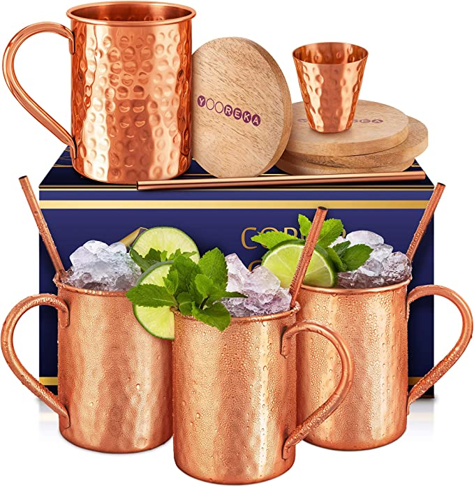 Amazon Com Gift Set Moscow Mule Mugs Set Of 4 16 Oz Solid Genuine 100 Pure Copper Cups Cylindrical Shape Handcrafted In India Bonus 4 Straws 4 Wood Coasters Shot Glass Comes