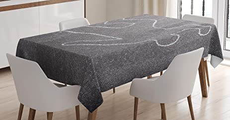 Modern Tablecloth By Ambesonne, Crime Scene Investigation On A Road Street  Murder Chalk Drawn Art