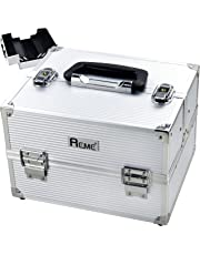 Makeup Train Case Cosmetic Organizer Case with Plastic Trays, Silver Stripe ABS Surface,Classic Type