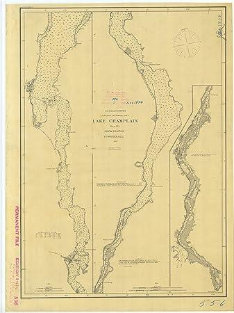 Amazoncom 8 X 12 Inch 1876 Vermont Old Nautical Map Drawing Chart - Lake-champlain-on-us-map