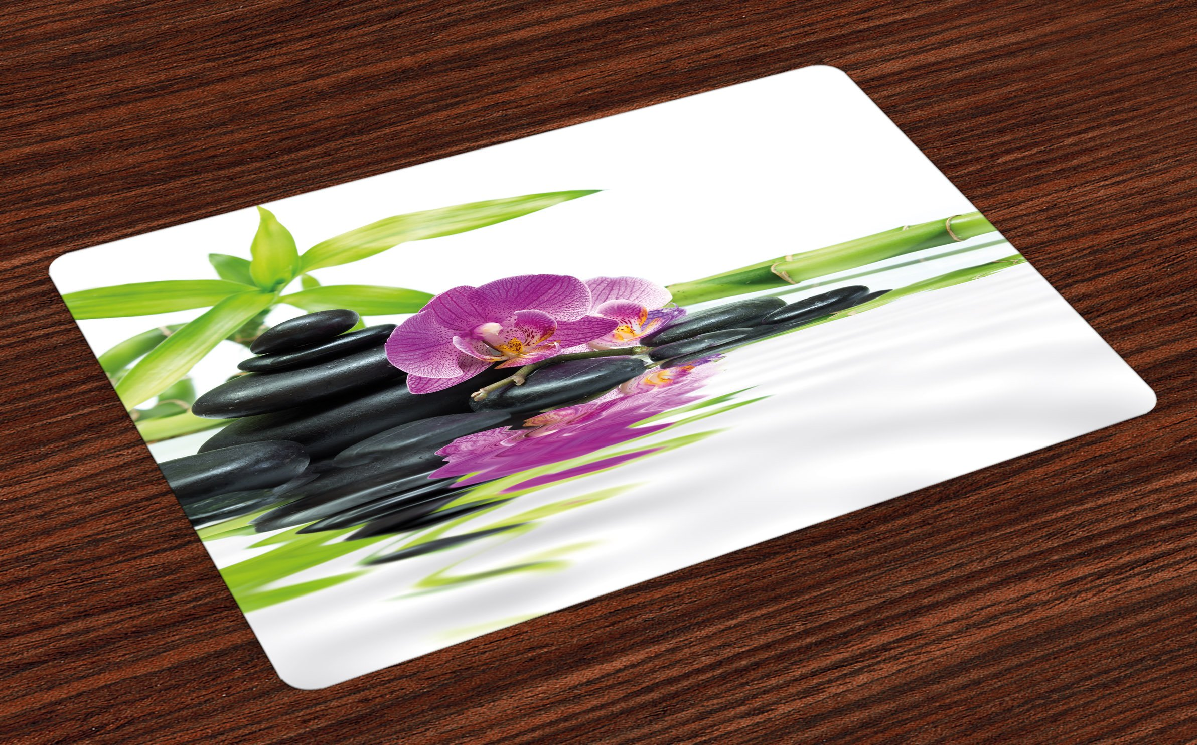 Ambesonne Spa Place Mats Set of 4, Asian Relaxation Ways with Zen Massage Stones Purple Orchid and a Bamboo, Washable Fabric Placemats for Dining Room Kitchen Table Decor, Purple Black and Green