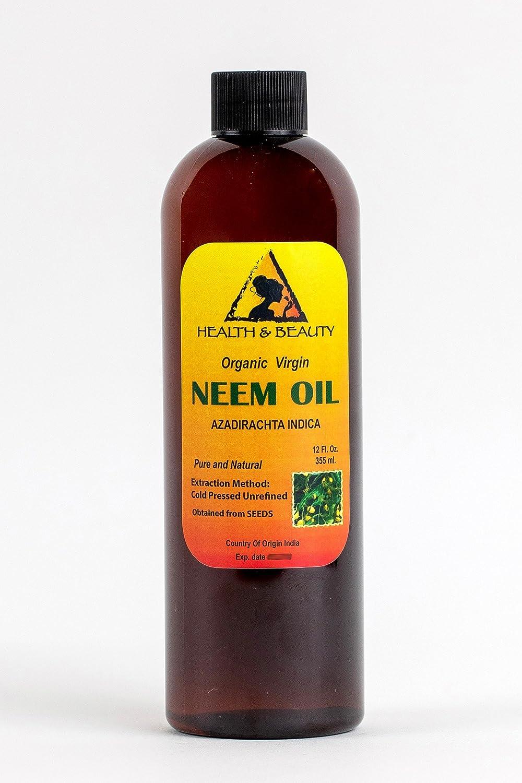 Neem Oil Virgin Organic Carrier Unrefined Cold Pressed 12 oz, 355 ml H&B OILS CENTER Co.