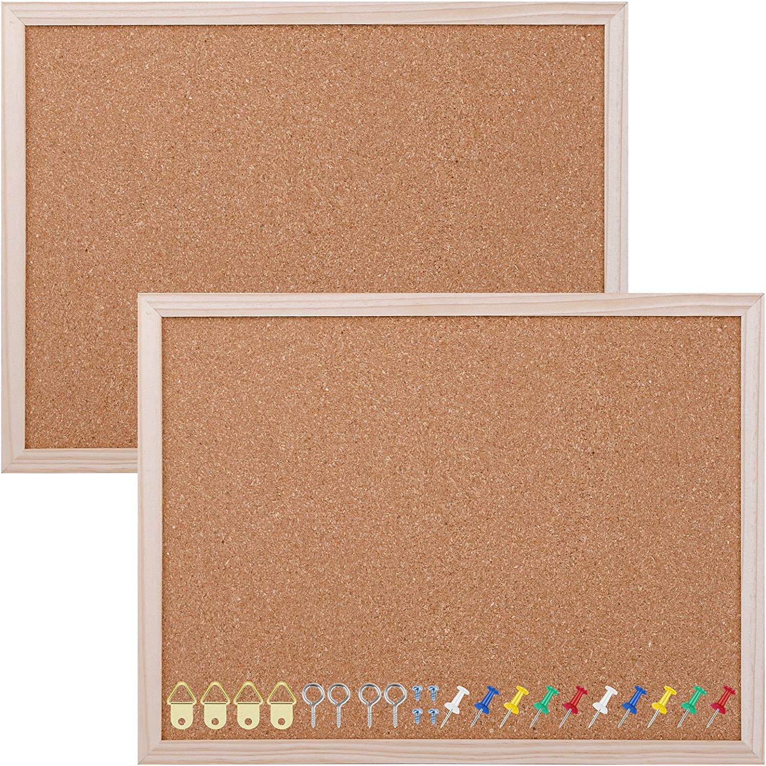 Aodaer Pack of 2 Cork Board Bulletin Board Notice Pin Board Square Pin Board Wall Mounted Cork Board for Office Home and School, 15.7 x 12 Inches, Natural