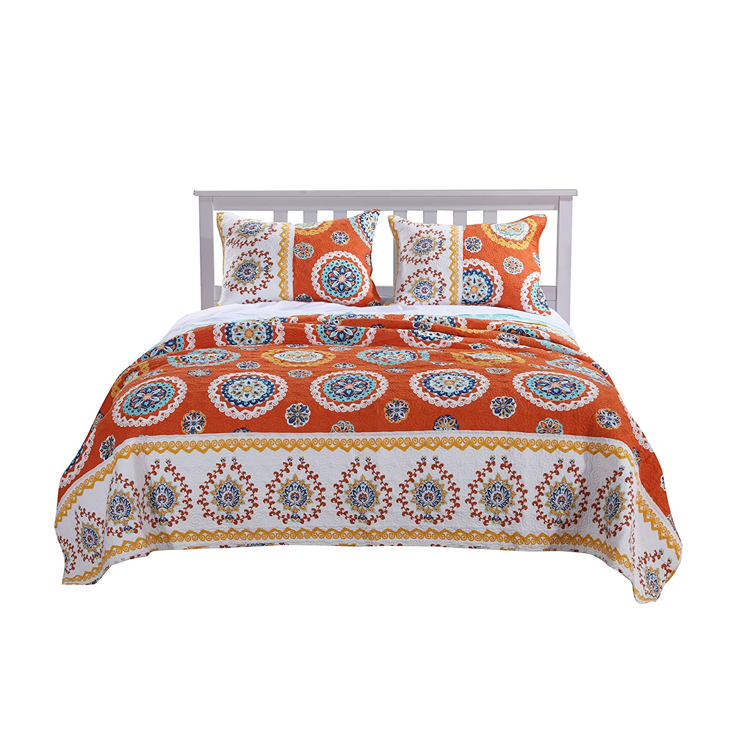 Barefoot Bungalow Rozario Quilt Set Twin Tangerine