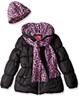 Pink Platinum Girls' Puffer Jacket with Cheetah Lining and Accessories