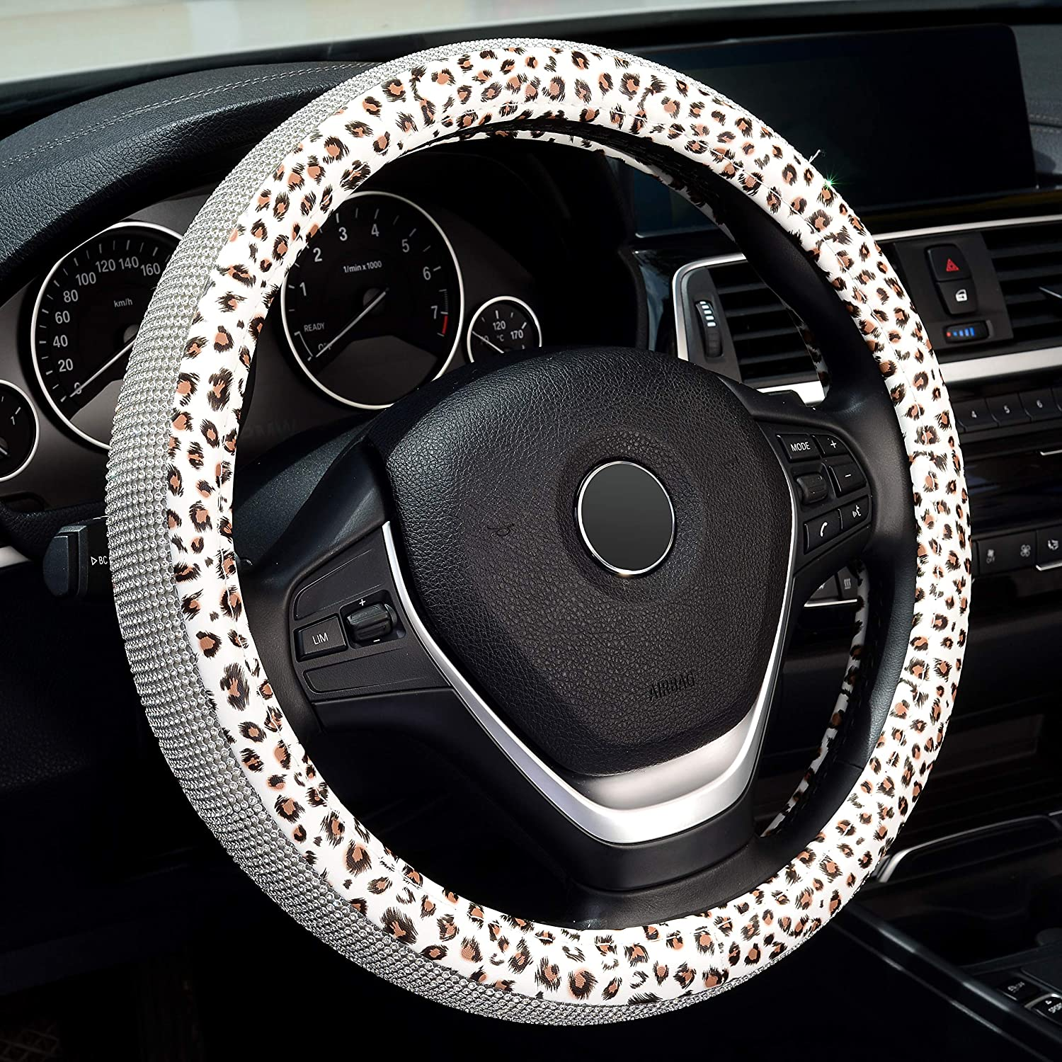 Universal Fit 15 Inch Car Wheel Protector with Bling Bling Crystal Rhinestones Cute Leopard for Women Girls Labbyway Diamond Leather Steering Wheel Cover White