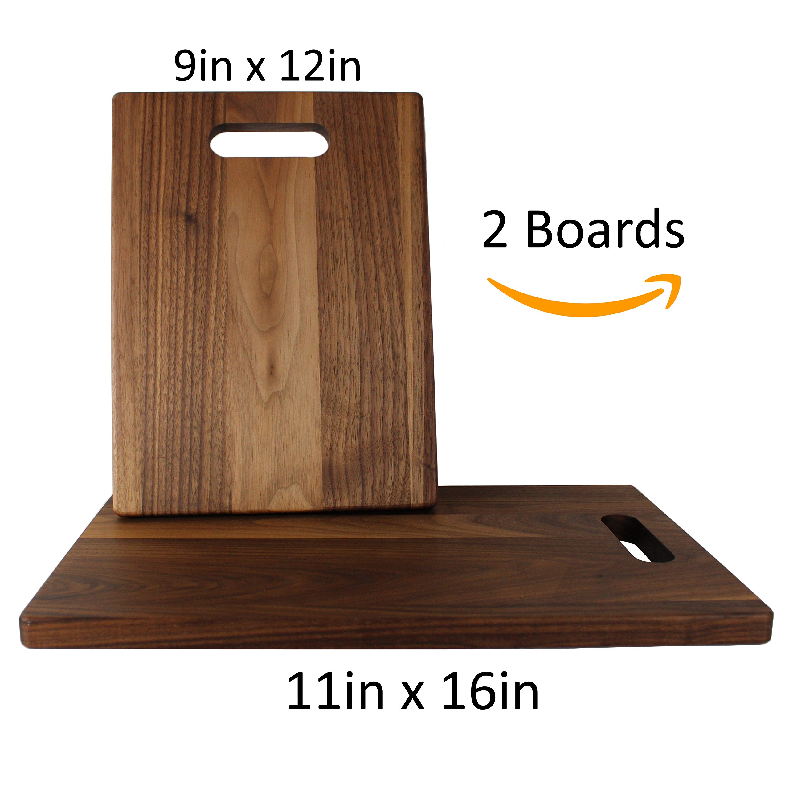 KitchenTalent Walnut Cutting Board Set - Large and Small Dark Hardwood Cutting Boards With Handle Cutouts - 11 x 16 x .75-9 x 12 x .75 - Solid Wood Chopping Block - Dark Countertop Butcher Block