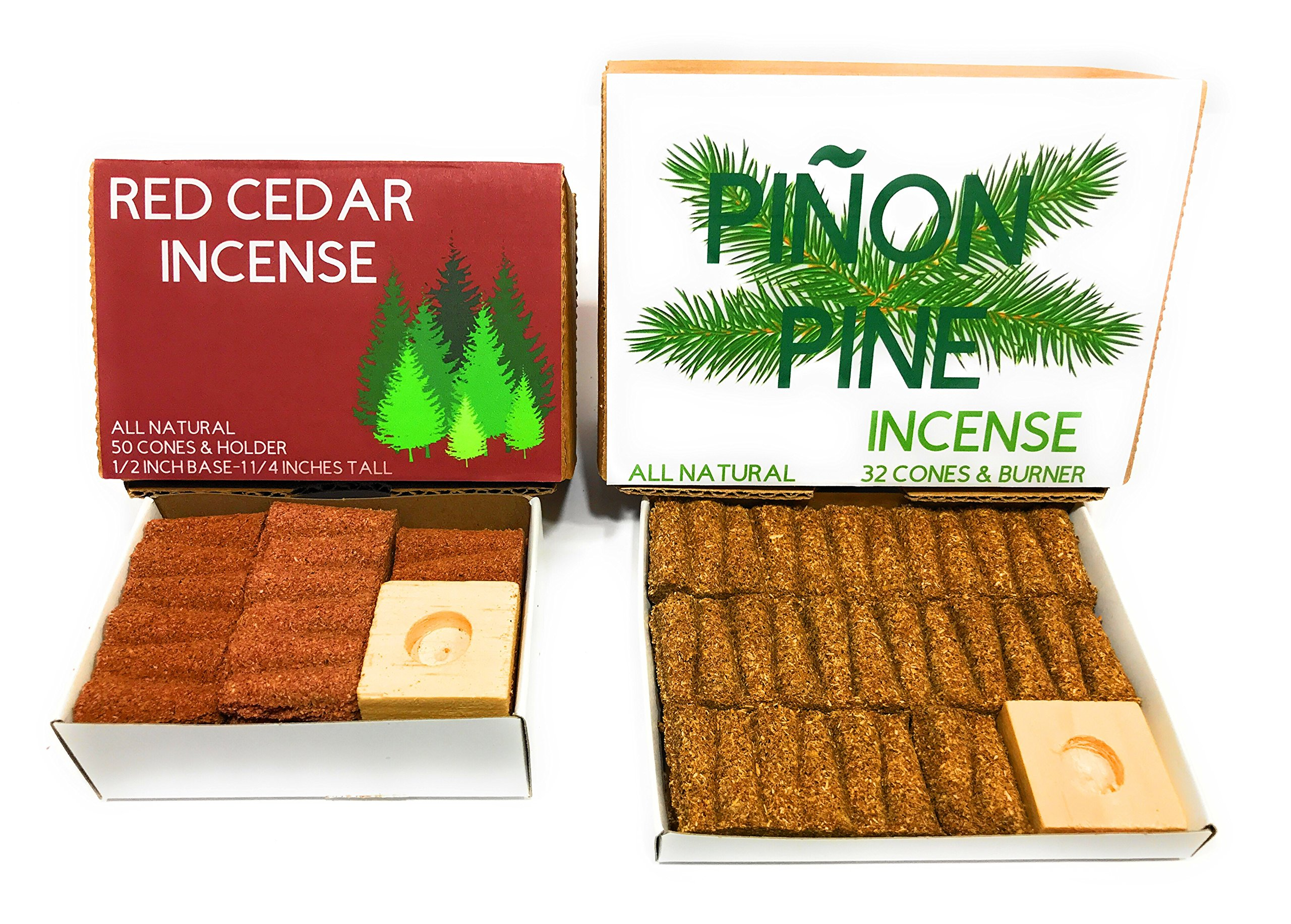 J & D's Everyday Needs Pinon and Cedar Incense Cone Bundle, 1 Box of Each, 82-pieces, with Holders by J & D's Everyday Needs