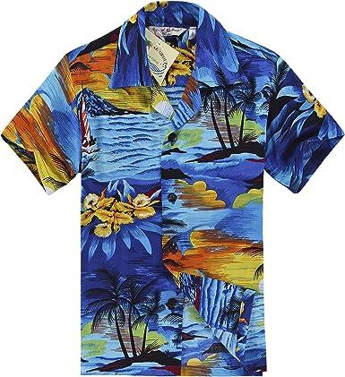 Hawaii Hangover Camisa Hawaiana del Muchacho o Conjunto de la cabaña en Puesta del Sol Azul