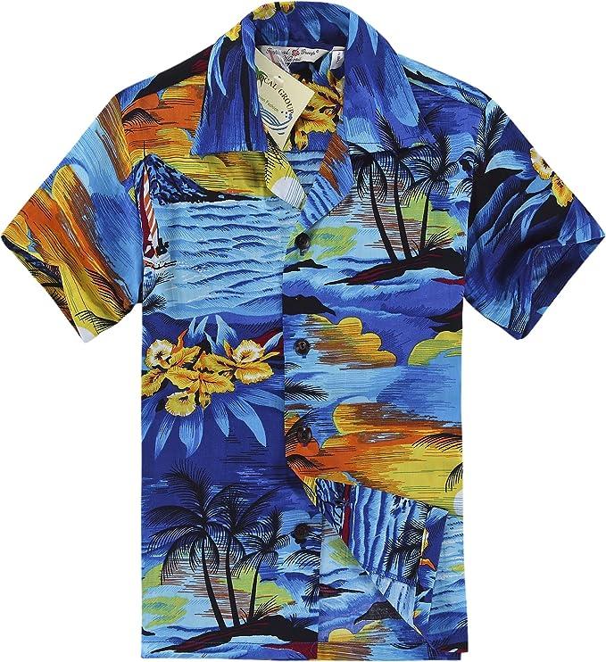 Hawaii Hangover Camisa Hawaiana del Muchacho o Conjunto de la cabaña en Puesta del Sol Azul: Amazon.es: Ropa y accesorios