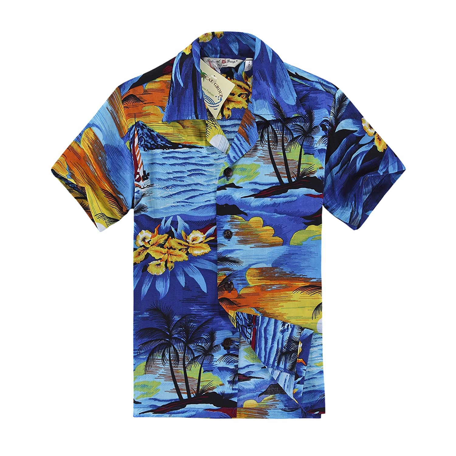 Boy Hawaiian Shirt or Cabana Set in Blue Sunset