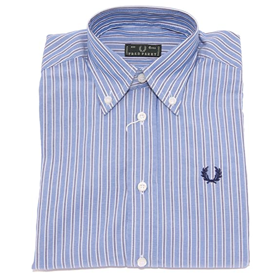 Fred Perry 3535T Camicia Bimbo Manica Lunga BLU Shirt Long Sleeve ...