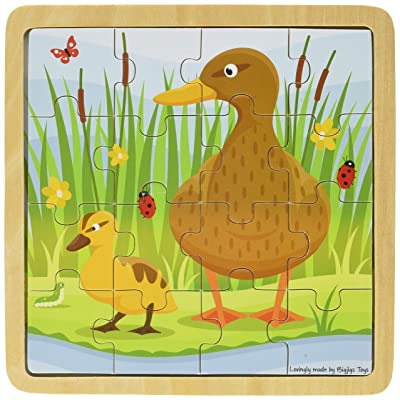 Bigjigs Toys Chunky Wooden Duck & Duckling Puzzle, Multicolored: Toys & Games