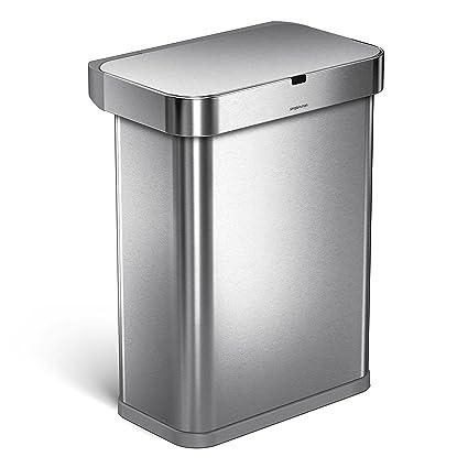 Marvelous Simplehuman 58 Liter/15.3 Gallon 58L Stainless Steel Touch Free Rectangular Kitchen  Sensor Trash