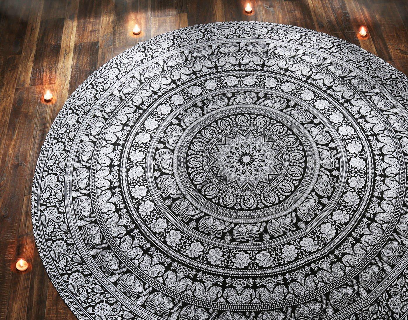 RAJRANG Black and White Elephant Round Tapestry Mandala Roundie Beach Throw Indian Hippie Meditation Yoga Room Decor